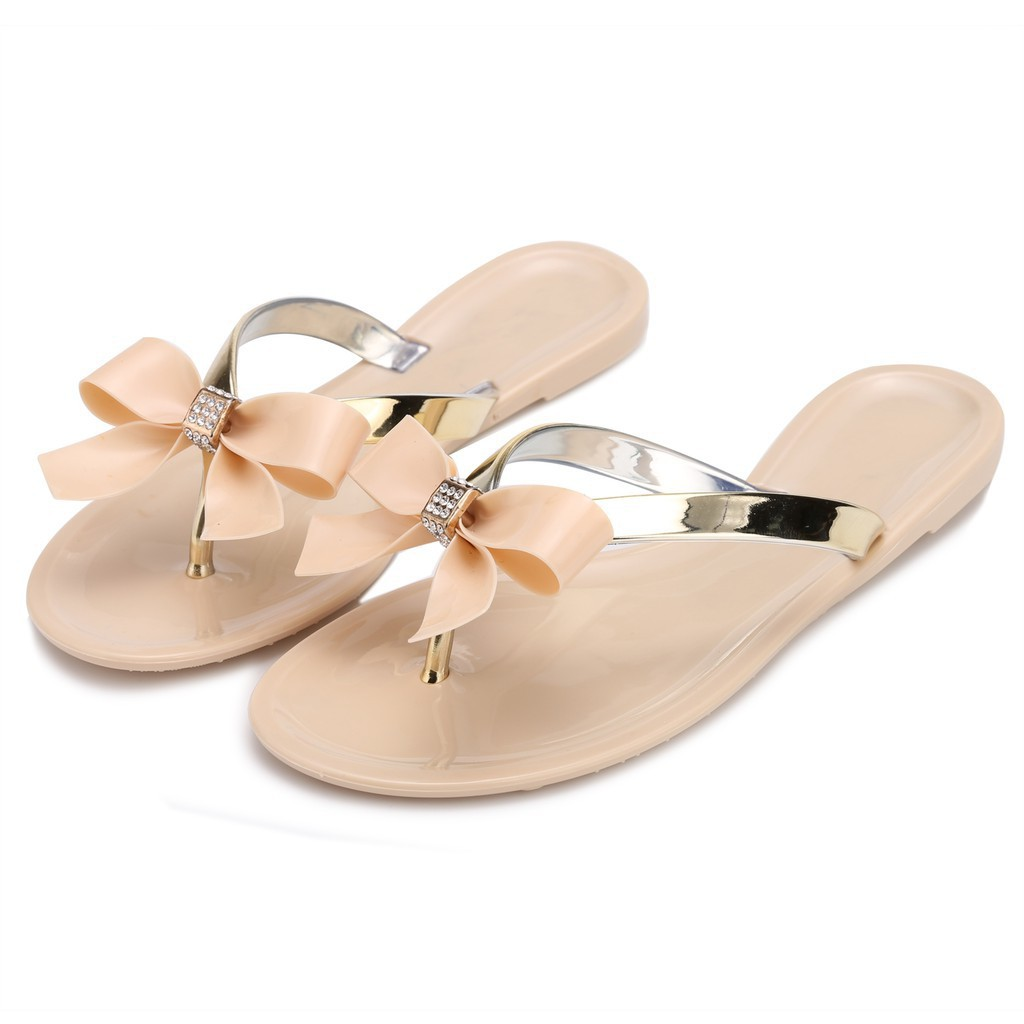 TOE BOW DIAMANTE JELLY 平底鞋FLOP THONG SANDALS