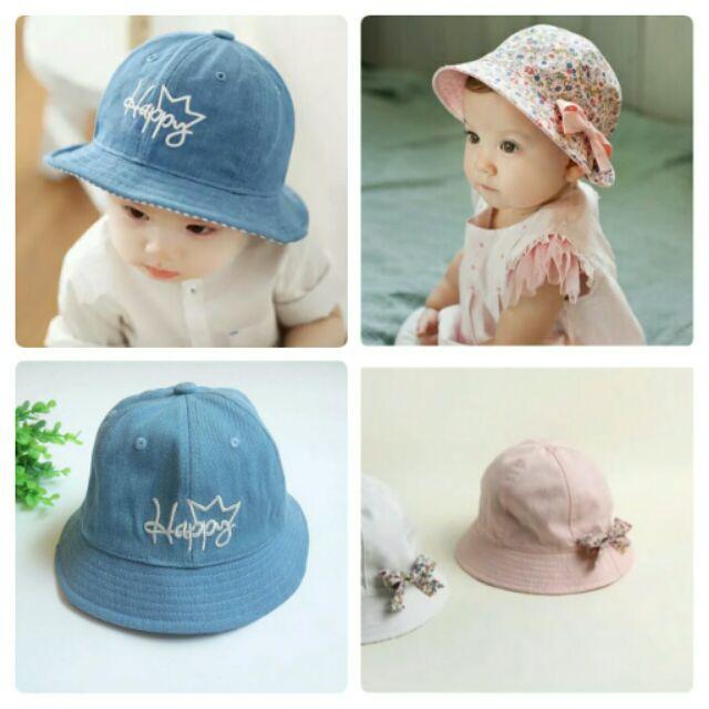 元元寶貝屋寶寶帽子漁夫帽遮陽帽圓帽春 防風兒童嬰兒帽牛仔帽童帽碎花 遮陽