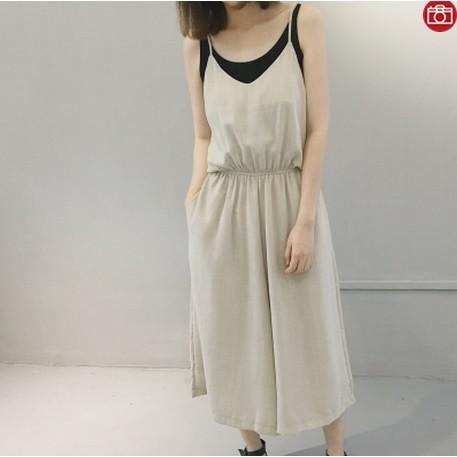 9512 氣質松緊腰吊帶無袖薄款棉麻中長背帶裙褲八分闊腿連體褲