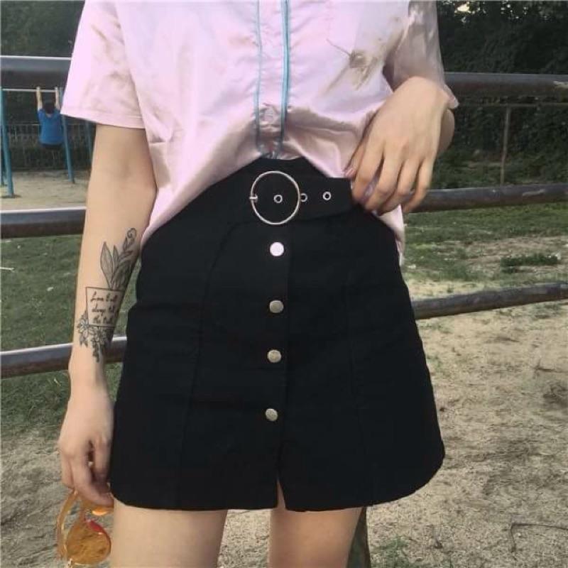 ~預~學院風修身顯瘦高腰學生半身裙短裙腰帶可調節