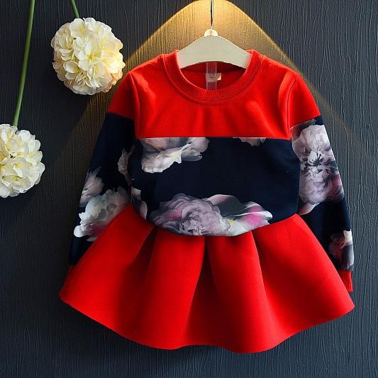 紅7 ~女童秋款803 ~花朵拼接圓領上衣短裙套裝