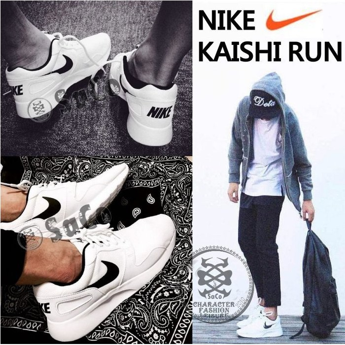 NIKE KAISHI RUN 男女碼情侶款百搭黑白灰銀輕量2016 透氣慢跑 新