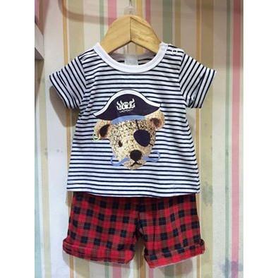 寶寶條紋海盜熊紅格褲套裝