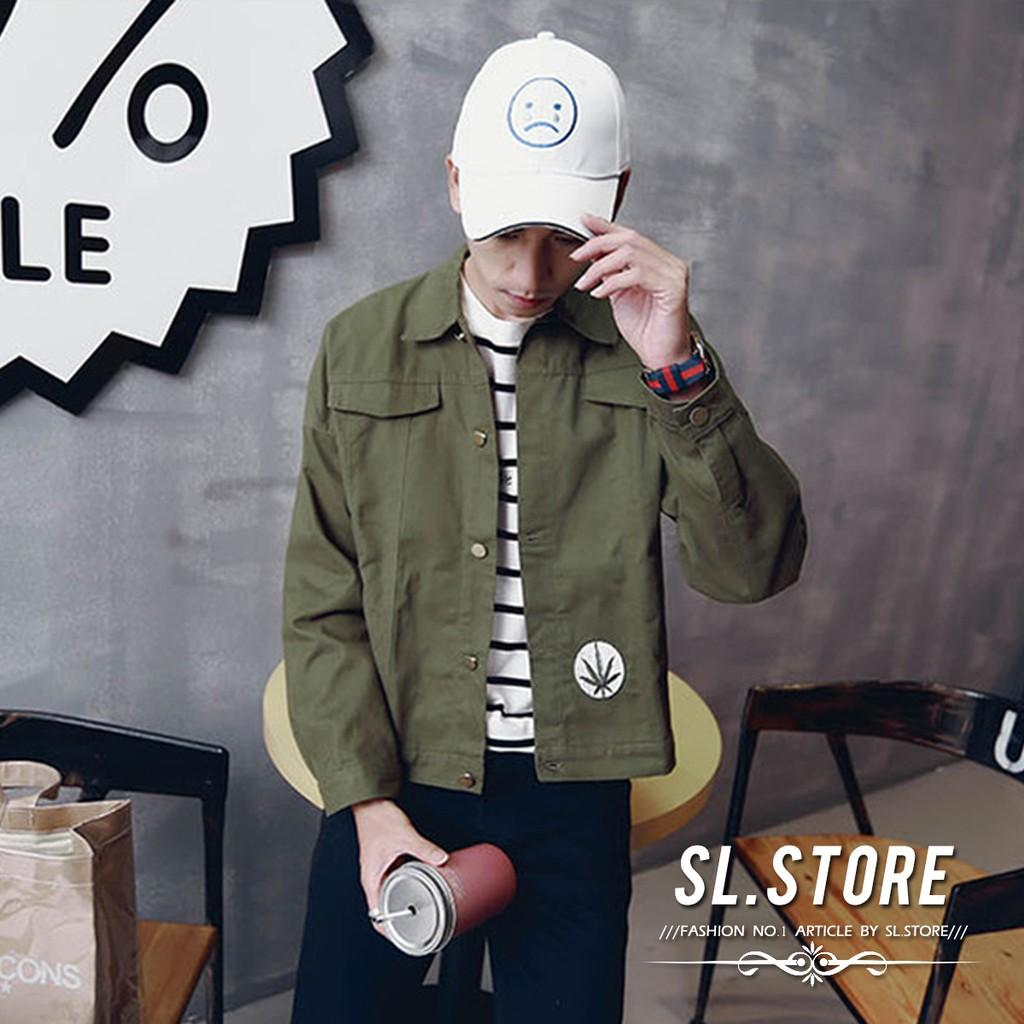 SL Store ~CBF8313 ~大麻葉徽章U S ARMY 刺繡飛鼠袖外套.軍綠黑M