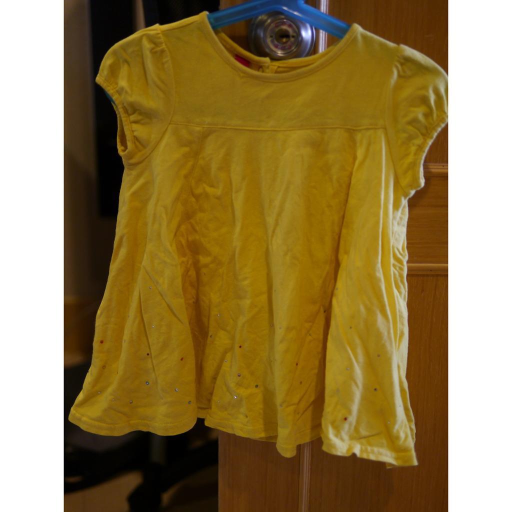 why and 1 2 女孩100cm 螢光亮黃色公主包袖亮片鑽傘狀洋裝短袖長版上衣T 恤