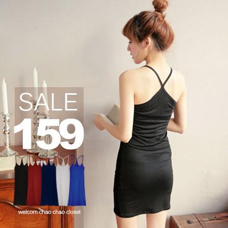 SISI ~V5006 ~舒柔純色好穿搭親膚內搭Y 字無袖莫代爾棉長版連身裙洋裝