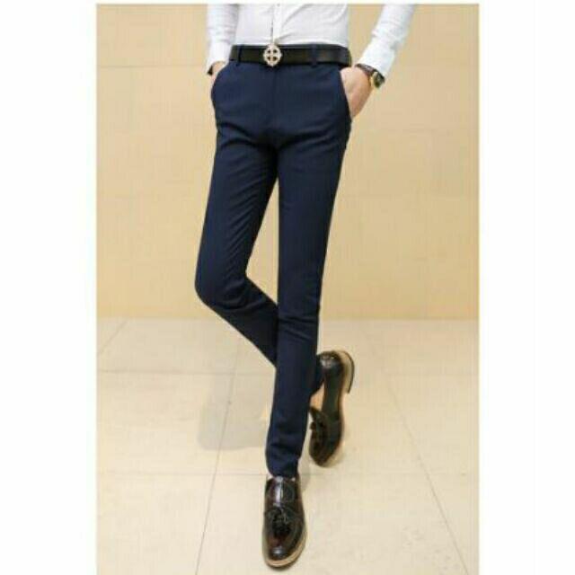深藍色英倫男士西褲級緻修身小腳男長褲緊身修身長褲男長褲