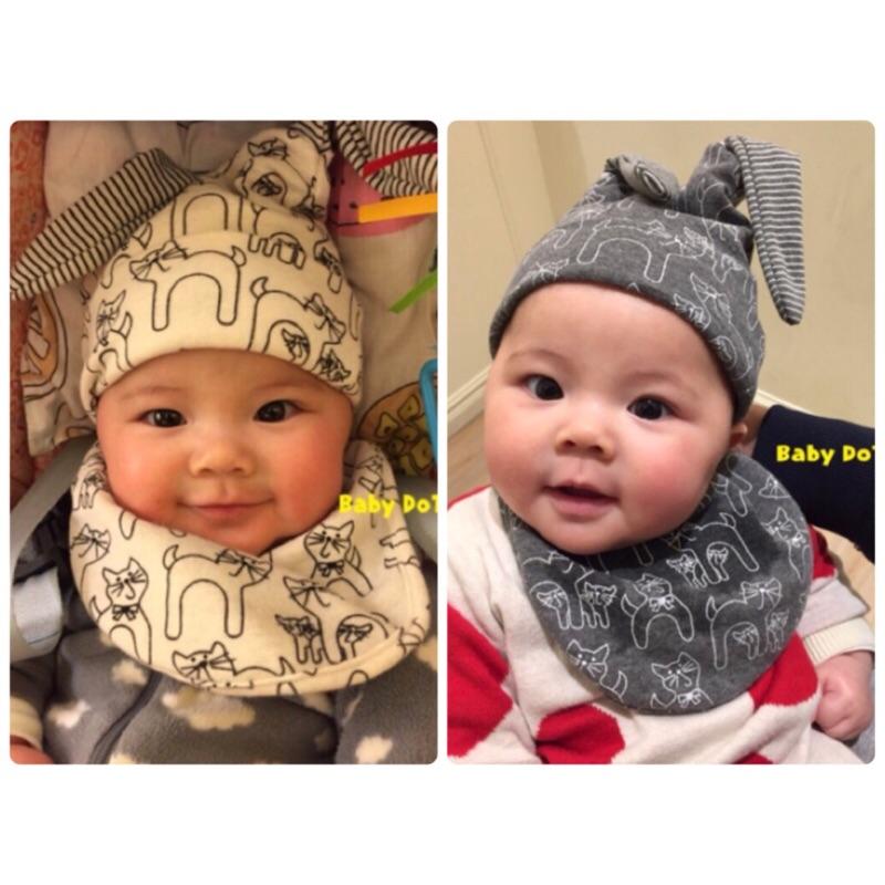 款 ✨貓咪口水巾套頭帽兩件組圍兜條紋圍巾雙面純棉口水巾棉帽兔耳朵 保暖帽空調帽