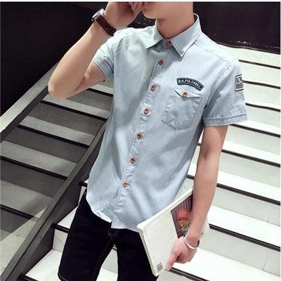 男生短袖襯衫夏天薄款潮男牛仔襯衫牛津紡短袖修身型青年男士襯衫
