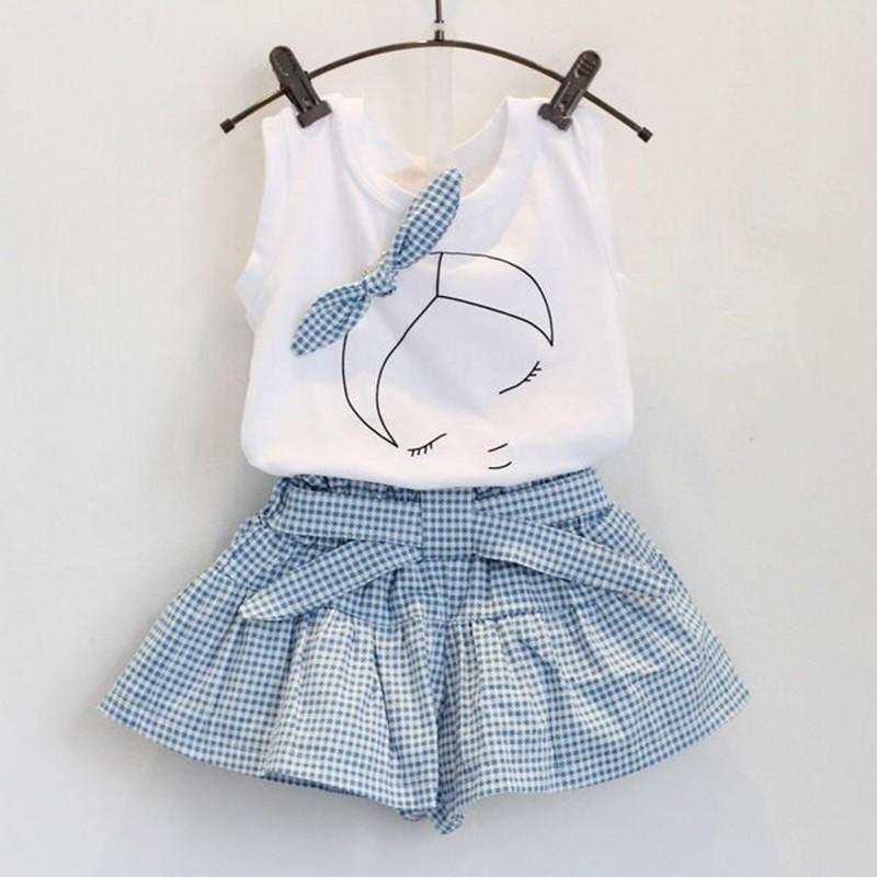 無袖蝴蝶結上衣T 恤格子短褲兒童套裝