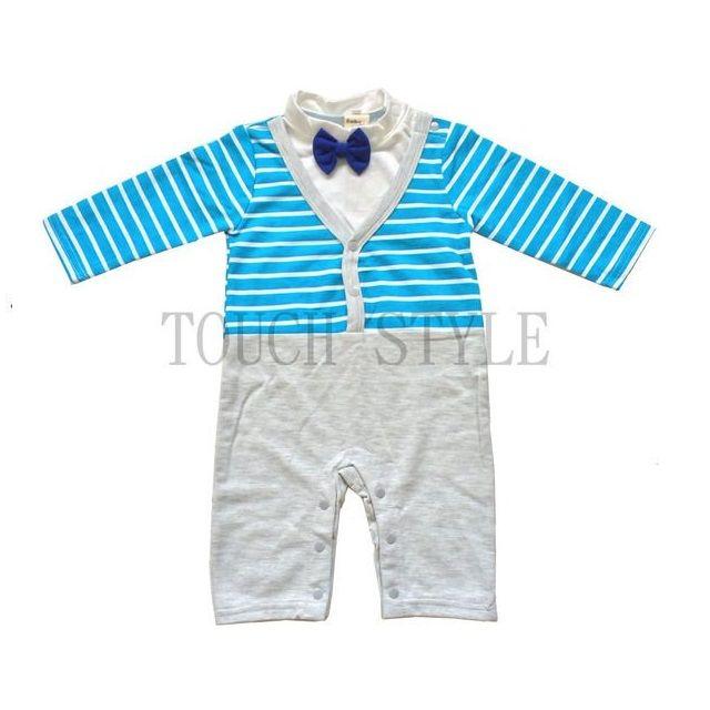 ~媽咪Baby 小殿~滿月周歲休閒西裝男寶寶嬰幼兒 紳士 領結條紋長袖哈衣直 下殺3 折