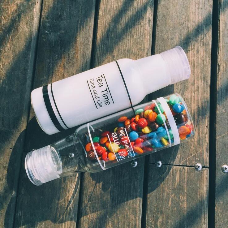 送杯刷韓國 Tea Time 玻璃水瓶隨手杯便攜杯水杯果汁瓶牛奶瓶防漏提手蓋玻璃瓶