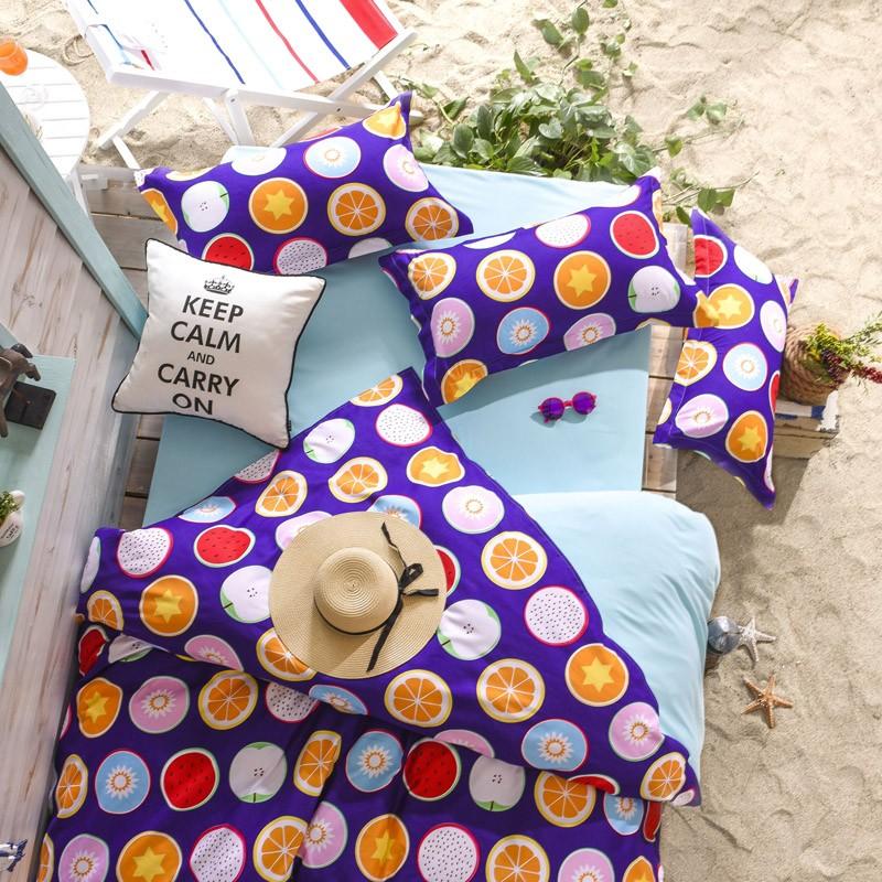 清涼夏日繽紛水果款床單床包床組單人雙人雙人加大床組三件組四件組 AB01