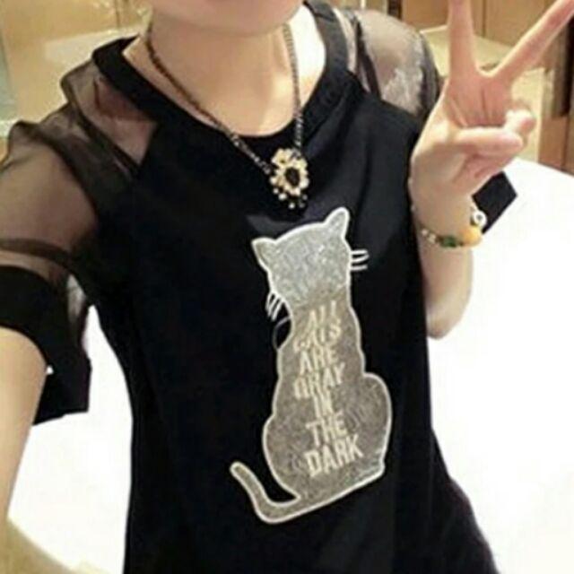 2016  圓領雪紡衫貓咪印花貓咪背影上衣短袖女t 恤(2 色)不含項鍊~大 ~M 3L