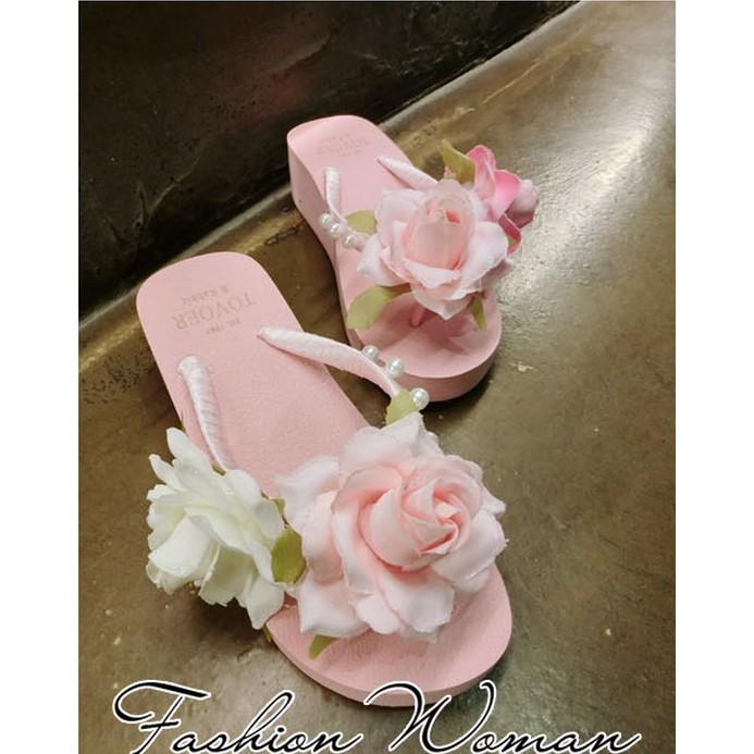 歐洲站 韓國粉色花朵珍珠坡跟人字拖鞋女涼拖海邊沙灘度假