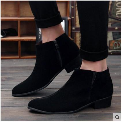 秋 英倫風復古馬丁靴男士休閒皮鞋男靴子高幫短靴潮流尖頭皮靴