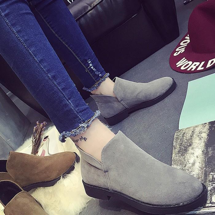 2016 秋 平底短靴子皮加絨棉鞋英倫風套腳圓頭低粗跟短筒女靴子裸靴短靴長靴雨靴雪靴過膝靴