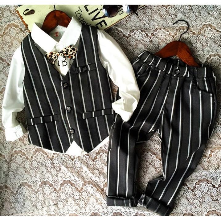 韓款灰色直條紋馬甲背心長褲西裝套裝95 128cm 紳士男花童禮服小提琴發表會服