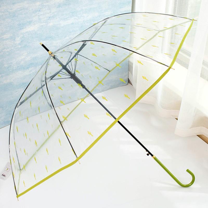 透明雨傘女生韓國小清新 學生長柄傘半自動卡通 直柄傘