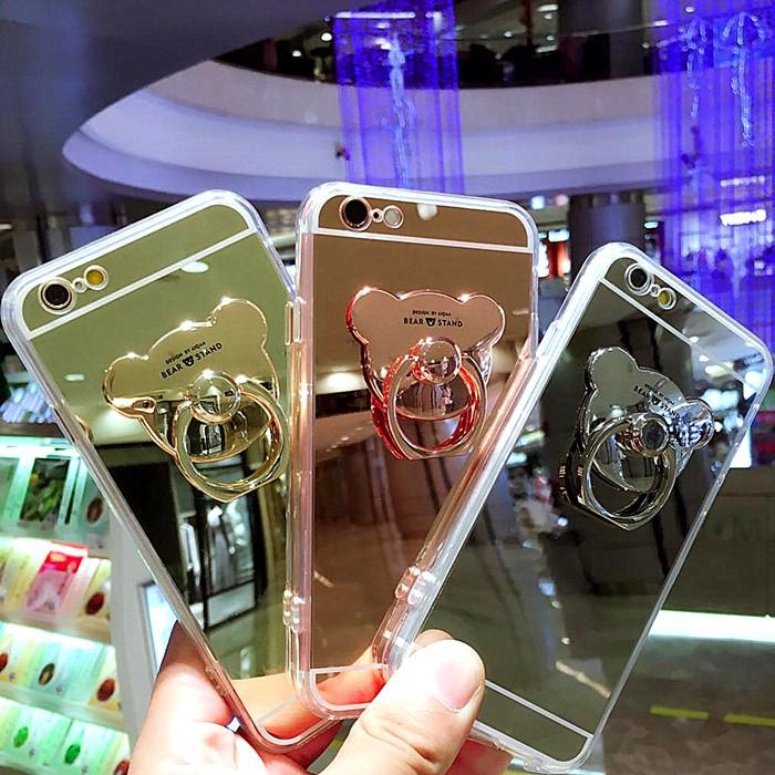 鏡面小熊Iphone7 Iphone6 plus 手機殼支架手環透明殼軟膠套指環殼蘋果
