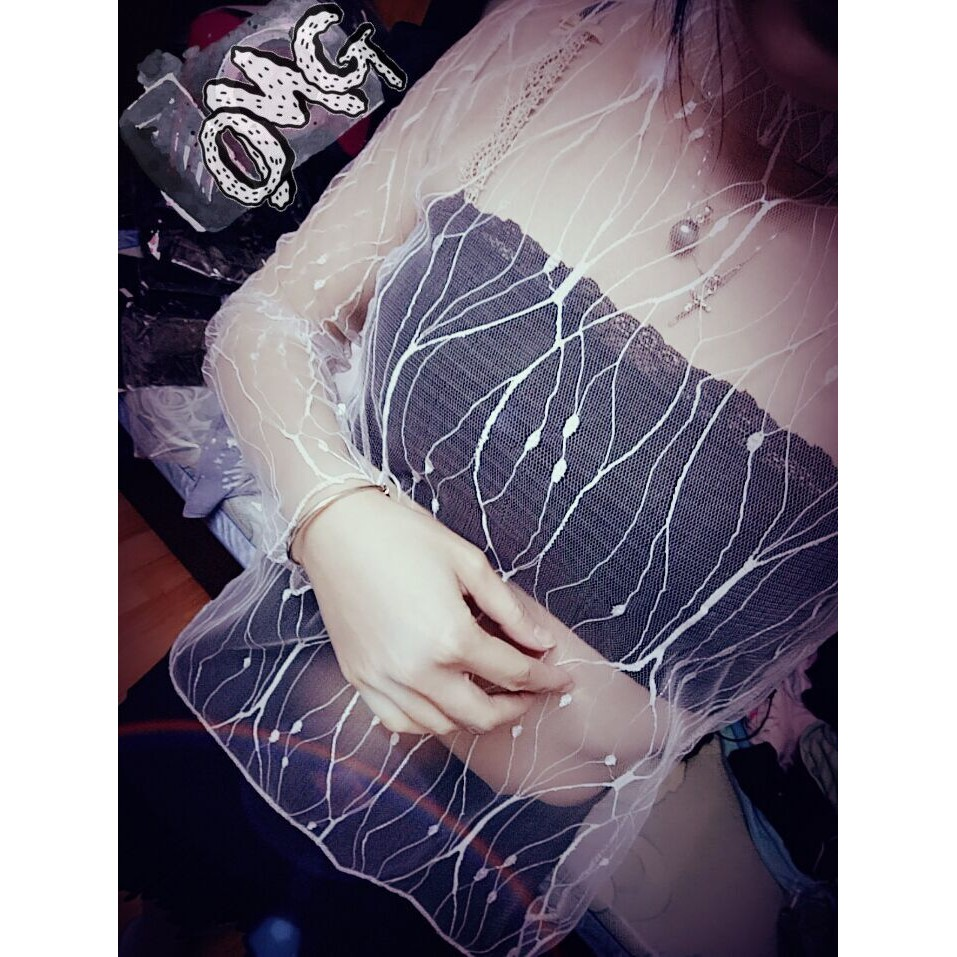 ~ ~SEX 性感蕾絲衣⭐️艾娃娃⭐️~ 版~SEX 春夏星星透視網紗上衣性感網狀打底衫女