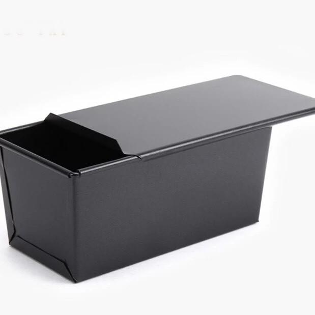 ~NG 烘焙黑色不沾有蓋吐司模~NO135 長方形帶滑蓋面包模具450g 土司盒烤箱用