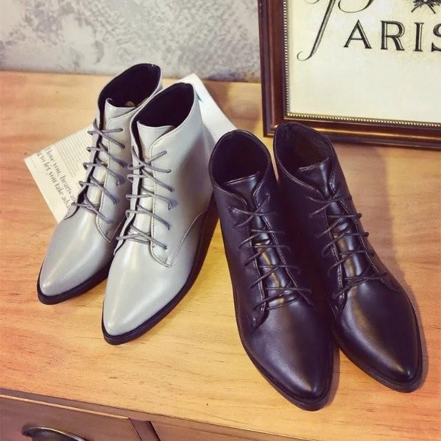☯☧☬☸ 平底系帶馬丁靴女靴短靴子流蘇尖頭短筒女鞋學生 雪地
