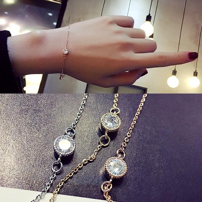 掌柜自留AAA 水晶 日 甜美簡約飾品首飾學生手鏈手飾女