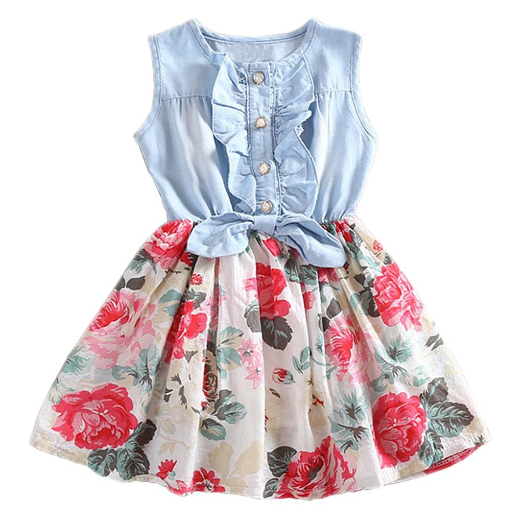 女童大花朵牛仔布禮服無袖公主裙2 3 4 6 歲洋裝