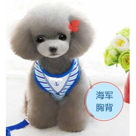 條紋水手寵物胸背牽繩小型犬胸背牽繩寵物胸背帶