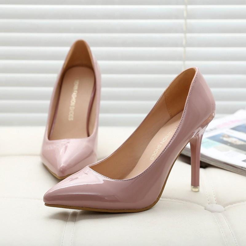 小光頭商店 裸色高跟鞋細跟尖頭女單鞋漆皮淺口 明星同款紅色婚鞋