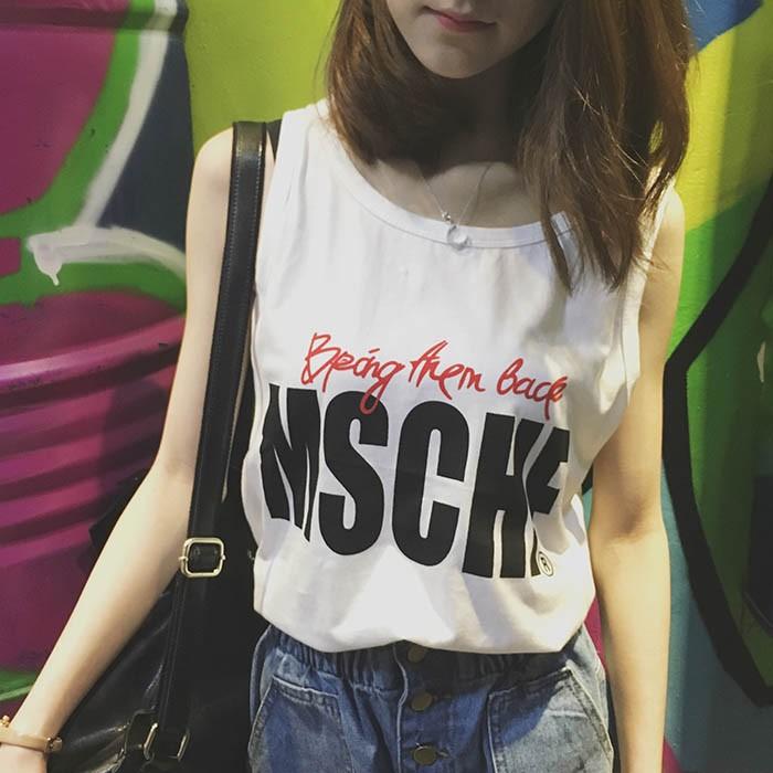 韓範 字母印花複古百搭寬松顯瘦無袖T 恤背心