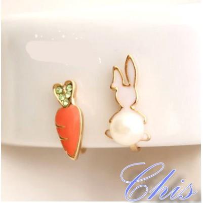 Chis Store ~胡蘿蔔與珍珠兔子耳夾~韓國精緻療癒系卡通無耳洞耳環夾式耳環耳針耳扣