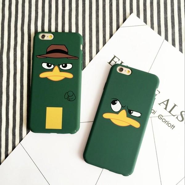 iPhone 6s Plus 7 Plus 搞怪鴨嘴獸表情泰瑞綠磨砂全包硬殼手機殼