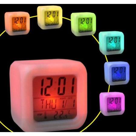 C032 多 LED 七彩四方鐘鬧鐘 夜光時鐘日曆溫度計家居布置辦公室學校 兒童節