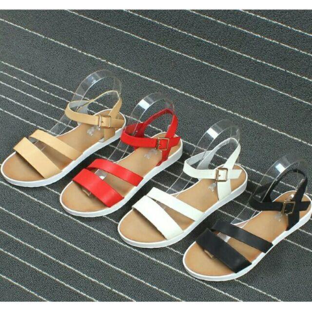 外貿原單夏日 真皮粗繫帶厚底舒適百搭涼鞋牛皮羅馬鞋