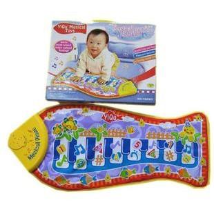 YIQU 魚形觸摸琴遊戲毯遊戲墊音樂爬行地毯
