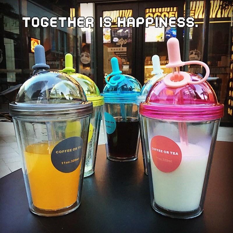 新品韓國 雙層吸管杯帶蓋隨手杯奶茶杯飲料杯五彩繽紛果汁杯五色選