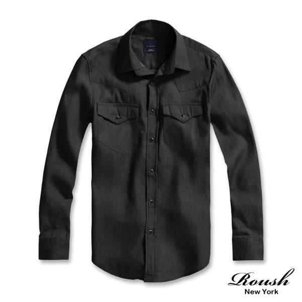 Roush 雙口袋黑色釘釦黑色水洗牛仔襯衫~41261 ~