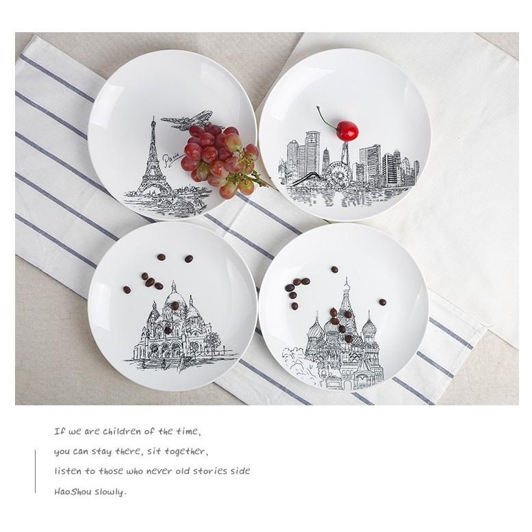 簡約黑白城市風情 早餐盤西餐盤點心盤裝飾盤浪漫 建築牛排盤子陶瓷器廚房用品餐具8 吋平盤