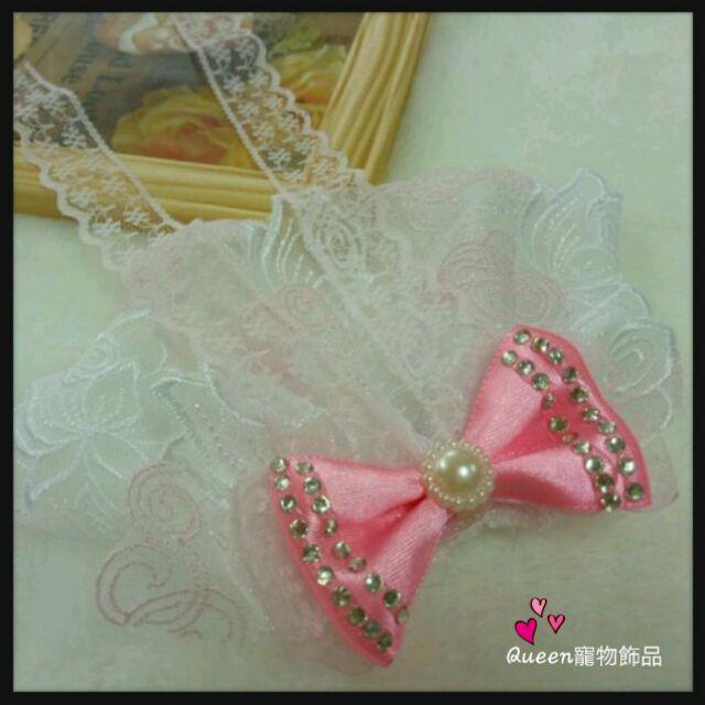 Queen 寵物飾品狗狗新娘蕾絲頭紗婚紗頭飾粉色花朵披紗