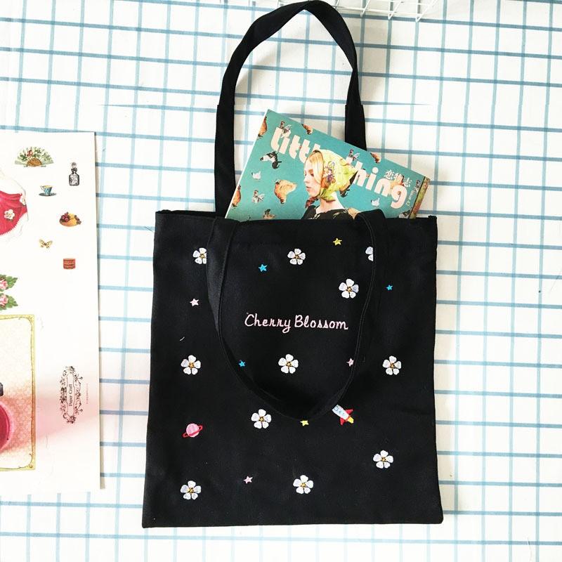 ❤ ❤韓國同款櫻花刺繡帆布包包環保袋單肩女包J037
