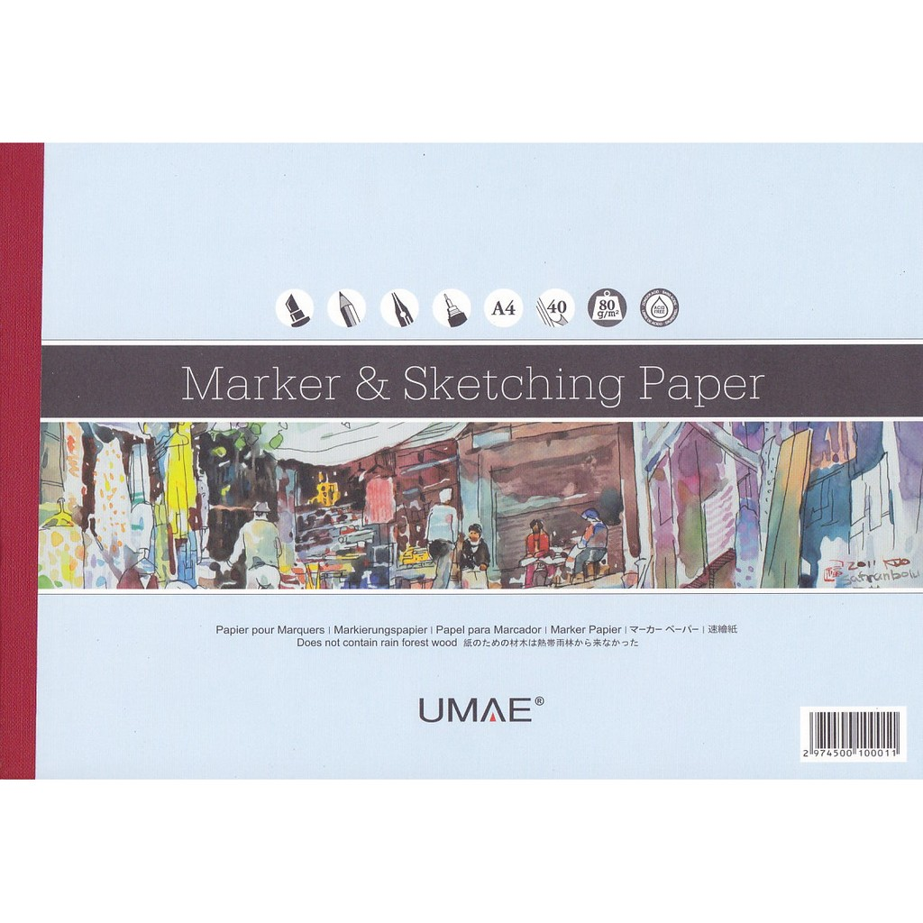 TYART 奧馬UMAE 素描本速繪本A4 40 張 鉛筆、麥克筆等