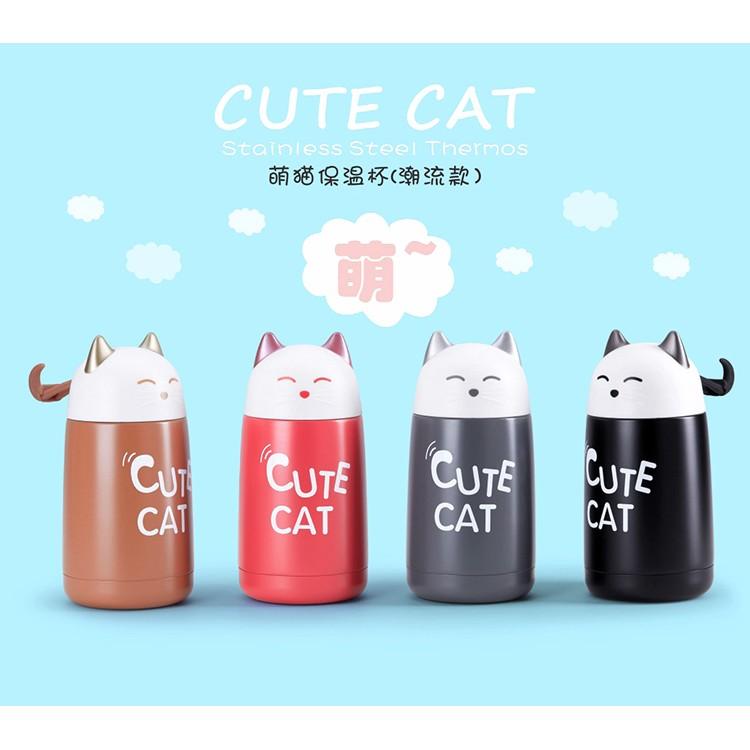 韓國招財貓保溫杯可愛 貓咪水杯保溫杯水瓶男女情侶水杯杯子隨身杯