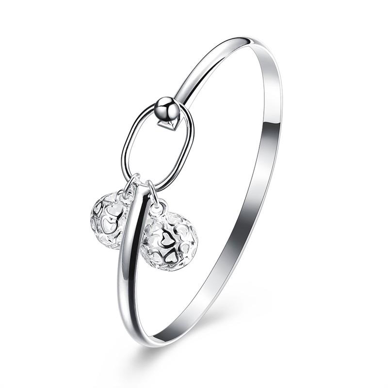 風 鍍銀環扣 簡約雙立體鏤空花紋球形女款手鐲浪漫情侶送禮 BR089