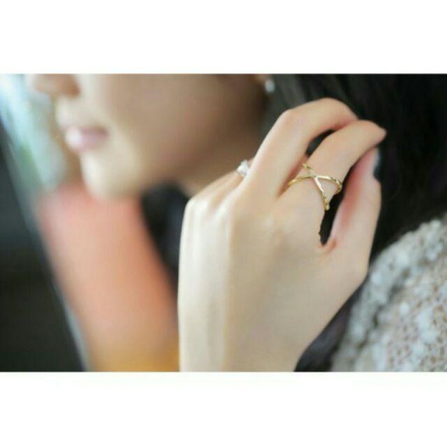 銀色款 韓劇來自星星的你同款交叉立體鏤空戒指