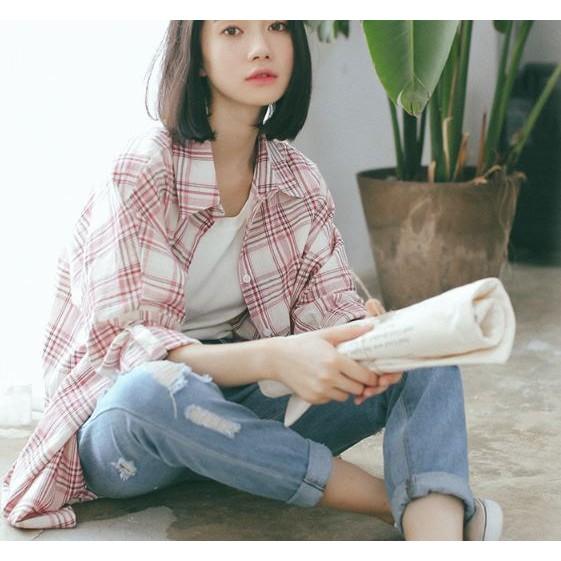 文青感慵懶長袖襯衫 清新學院風襯衫寬鬆長袖格子襯衫