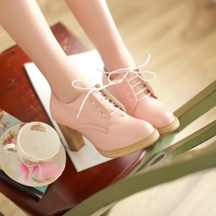 ღツ愛尚衣 女單鞋 圓頭高跟鞋粗跟系帶大碼防水臺女鞋子