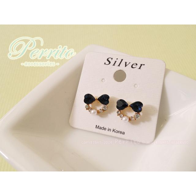 Perrito 正韓國愛心型水鑽蝴蝶結珍珠鑲鑽925 純銀耳針式耳環