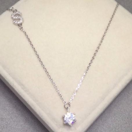 s925 純銀,這個夏天美美噠,小清新氣質oL ,高 銀飾S925 純銀項鏈女 日韓 鑲鑽
